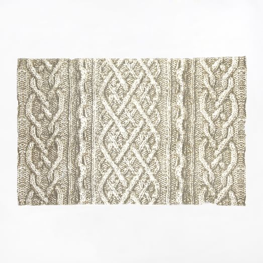 Cable Knit Printed Floor Mat, 2'x3', Pebble
