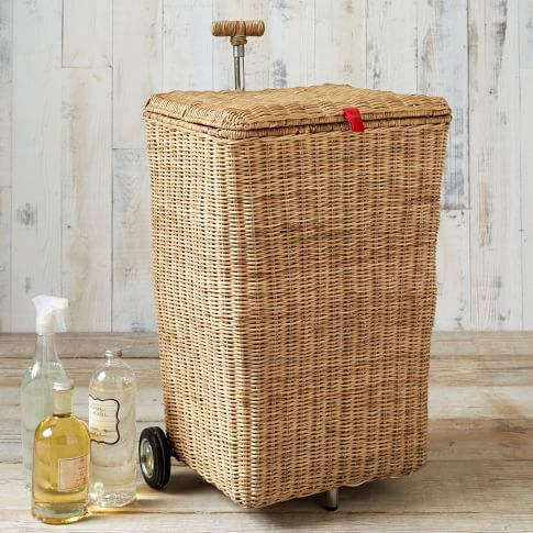 Wicker Laundry Cart