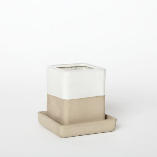 Earth Tone Planter, Small, Light Clay