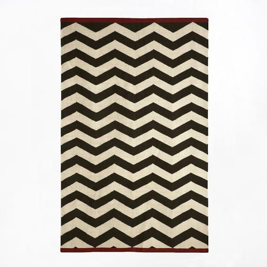 Zigzag Rug, 5'x8', Iron/Ivory/Fez Red