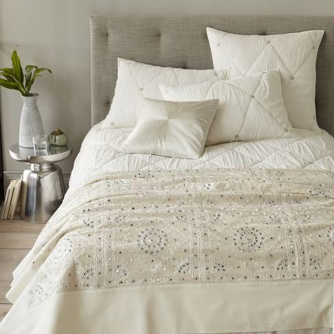 Pieced Embellished Blanket, King, White