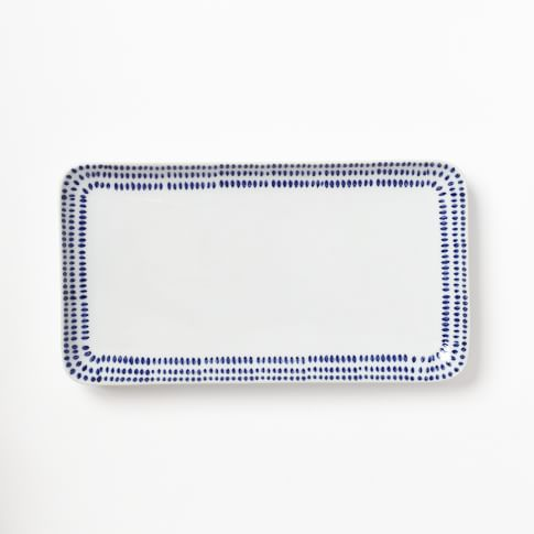 Hand Painted Dotted Bath Accessory, Tray, Blue