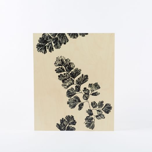 Botanicals on Birch Wall Art, Stencil Multileaf on Birch