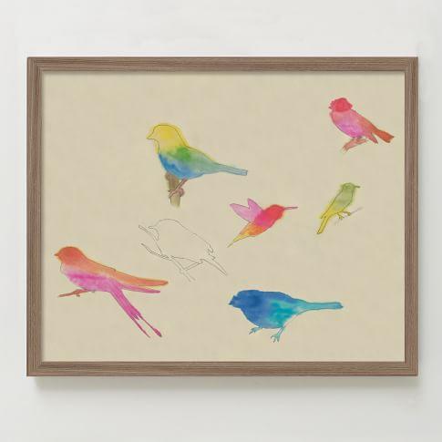Framed Print, Bird Sketches II