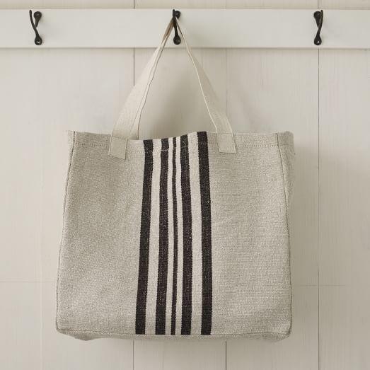 Vertical Rail Striped Tote Bag, Black Stripe, Large