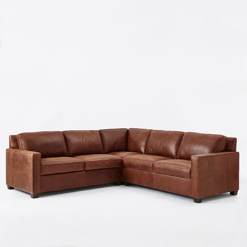 Henry Leather Sectional Set 1 - Corner, 1 Right Arm Loveseat, 1 Left Arm Loveseat, Molasses