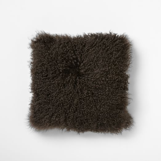 Mongolian Lamb Pillow Cover, Sable, 16