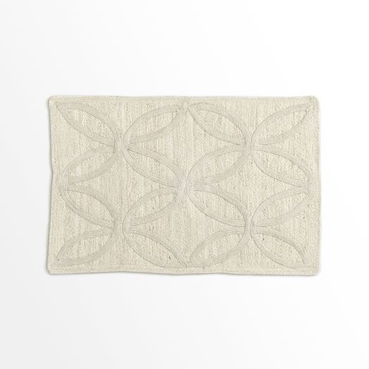 Metallic Leaf Tile Jute Rug, Silver/Ivory, 2'x3'