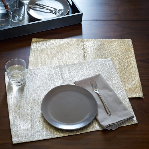 Metallic Raffia Placemats, Set of 2, Silver
