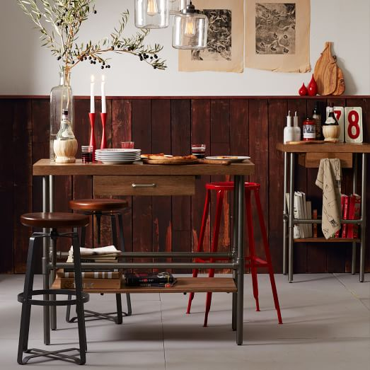 West Elm Rustic Kitchen Island For Sale