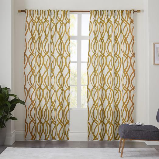 Cotton Canvas Scribble Lattice Curtain - Horseradish
