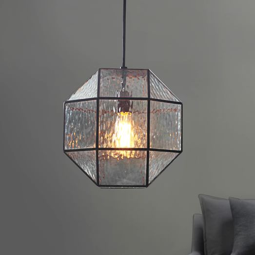 Industrial Textured Glass Pendant - Polygon