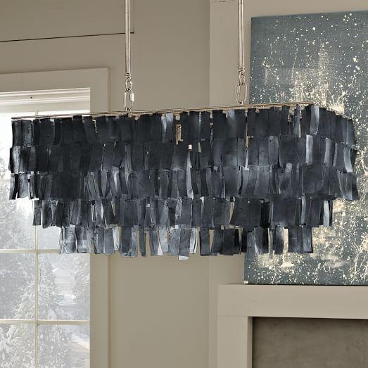 Large Rectangle Hanging Capiz Chandelier - Gray