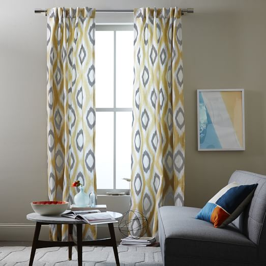 West elm ikat curtains - Yellow And Grey Ikat Curtains Galleryhip Com The