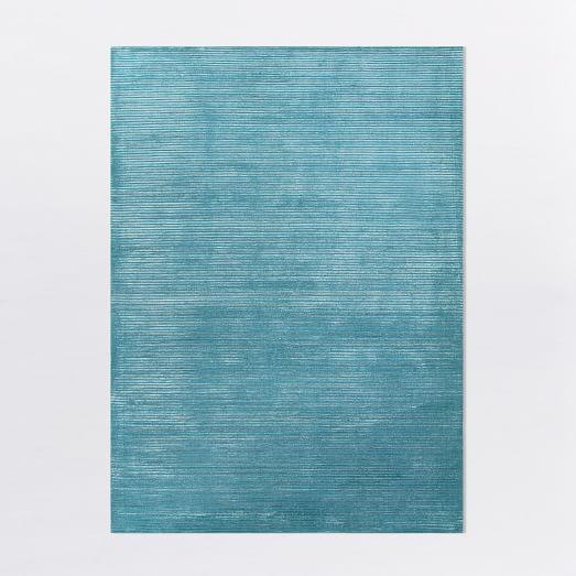 Textured Stripe Rug - Turquoise