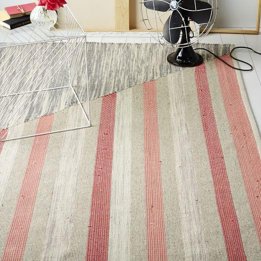 Axis Stripe Wool Kilim Rug - Rose Bisque