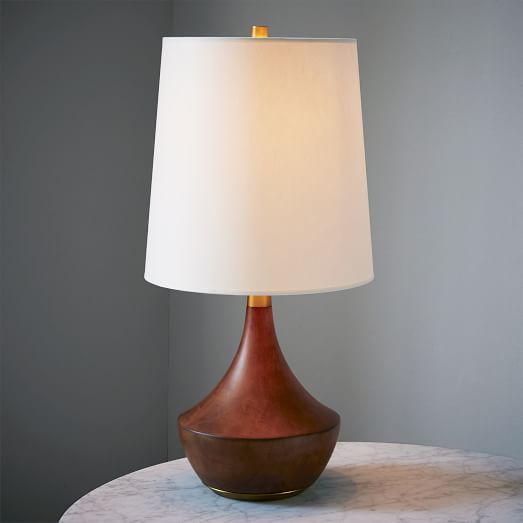 elm rejuvenation mid century wood table lamp medium west elm