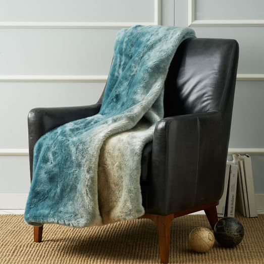 Faux fur throw turquoise dip dyed west elm for Fur throws for sofas