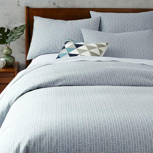 mid century organic bracket geo jacquard duvet cover. Black Bedroom Furniture Sets. Home Design Ideas
