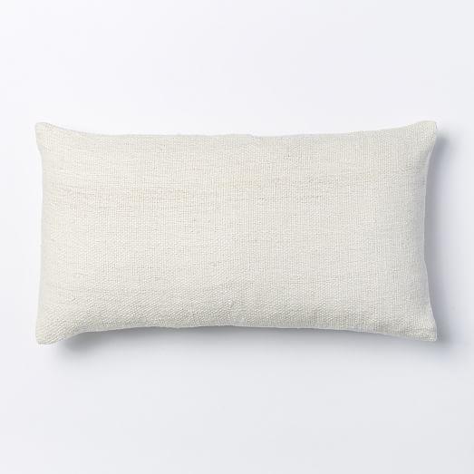 Silk Hand-Loomed Lumbar Pillow Cover - Stone White