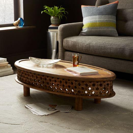 Carved Wood Ellipse Coffee Table Natural West Elm