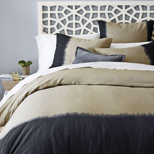 dip dye linen cotton blend duvet cover shams plaster. Black Bedroom Furniture Sets. Home Design Ideas