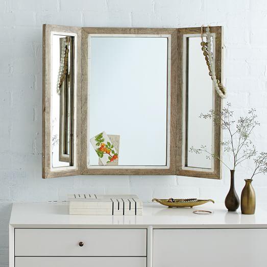 Trifold mirror west elm for Tri fold mirror