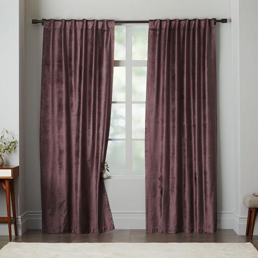 Cotton Luster Velvet Curtain Dark Iris West Elm