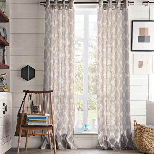 West elm ikat curtains - Ikat Ogee Linen Curtain Ivory Platinum West Elm
