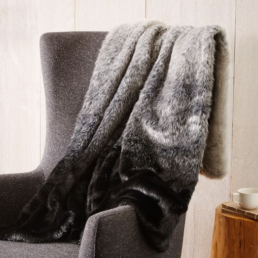 faux fur seal ombre throw west elm. Black Bedroom Furniture Sets. Home Design Ideas
