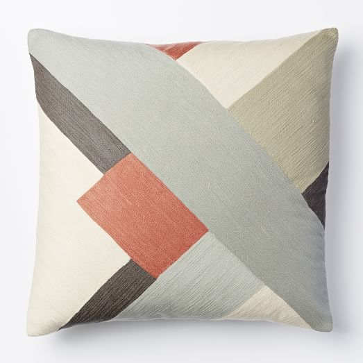 Modern Crewel Pillow : Crewel Modern Blocks Pillow Cover - Rose Bisque west elm