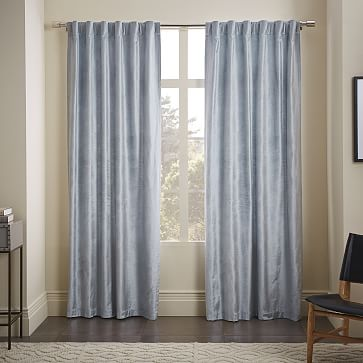 Star Flocked Curtain Regal Blue West Elm