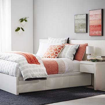 storage platform bed frame white west elm. Black Bedroom Furniture Sets. Home Design Ideas