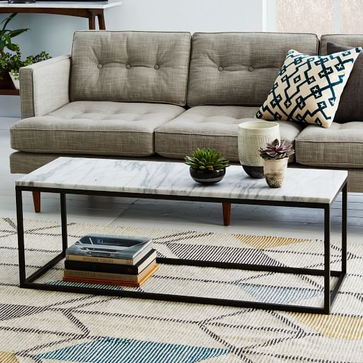 Marble Coffee Table With Drawers: Box Frame Coffee Table - Marble/Antique Bronze
