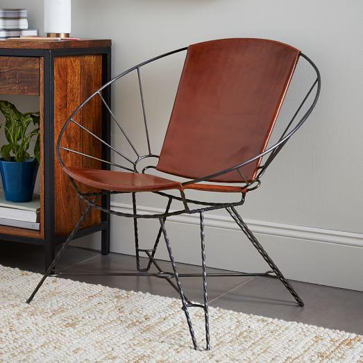 sculpted metal leather bowl chair west elm. Black Bedroom Furniture Sets. Home Design Ideas