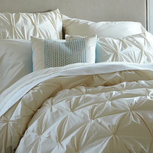 Organic Cotton Pintuck Duvet Cover + Shams - Natural ...