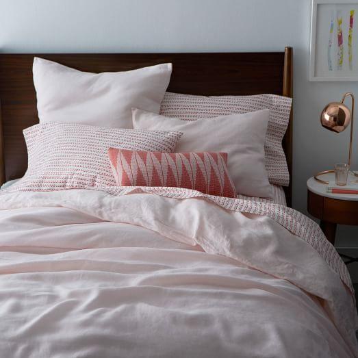 Belgian Flax Linen Duvet Cover Shams Pink Champagne