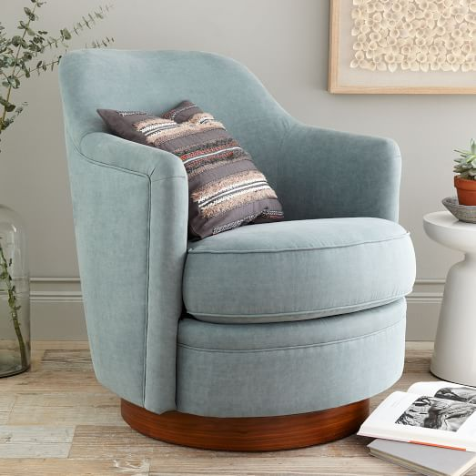 Tub swivel arm chair west elm for Small cute chairs