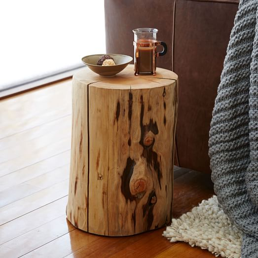 Natural tree stump side table west elm for Wood stump end table