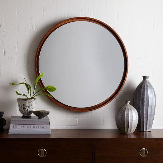 Floating Round Wood Mirror Acorn West Elm