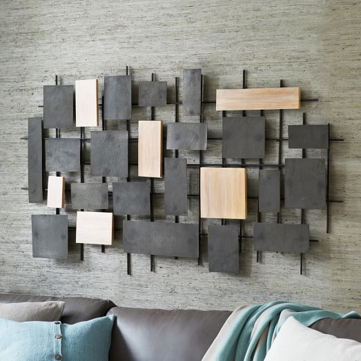 Mirror Decoration mounting mirrors on walls : Hammered Metal + Wood Wall Art : west elm