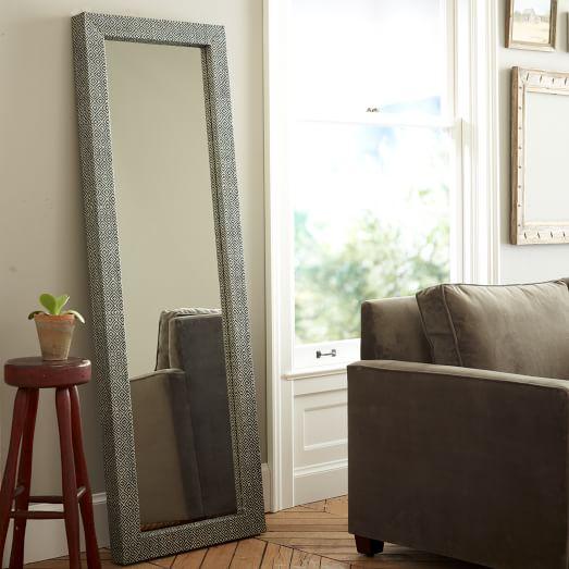 parsons floor mirror diamond grass cloth west elm. Black Bedroom Furniture Sets. Home Design Ideas