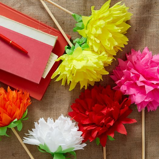 Mexican crepe paper flowers dahlia west elm for Crepe paper wall flowers