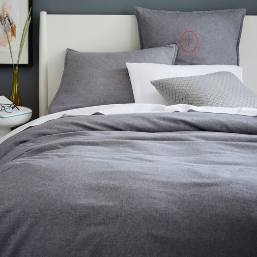 Flannel Duvet Cover Shams Graphite West Elm