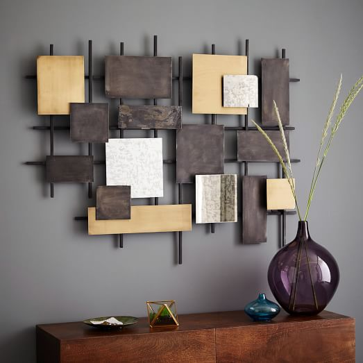 Mirrors For Wall Decor : Metal mirror wall art west elm