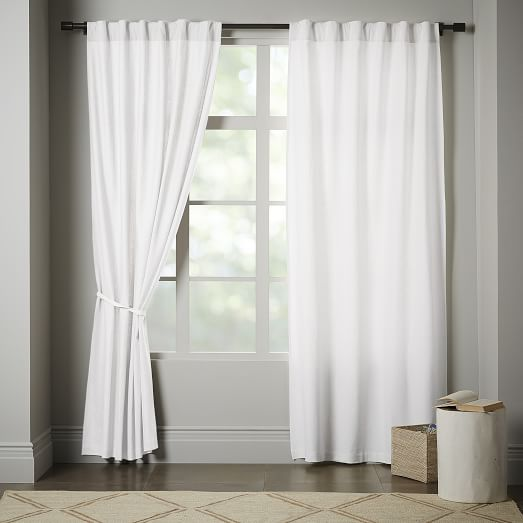 Linen Cotton Curtain Blackout Lining Stone White