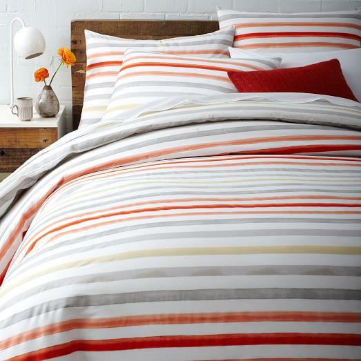 watercolor stripe duvet cover west elm. Black Bedroom Furniture Sets. Home Design Ideas