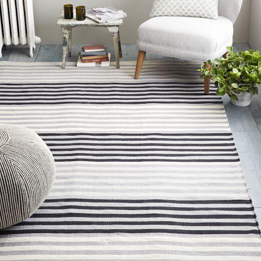 Colorstep Stripe Cotton Dhurrie Rug - Black/Stone White