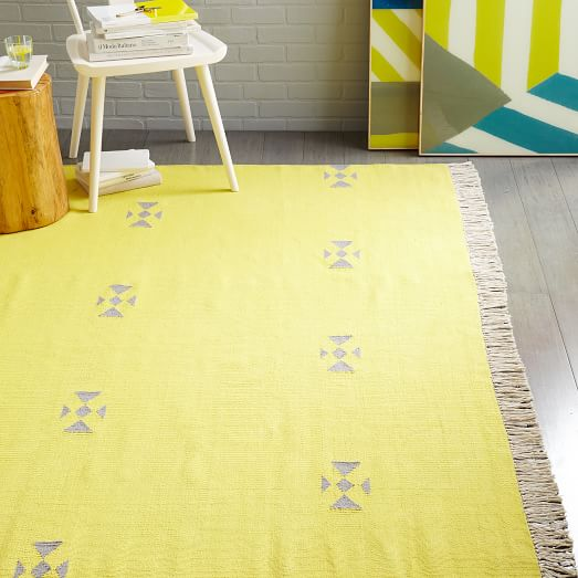 Steven Alan Arrowhead Cotton Kilim Rug - Sun Yellow