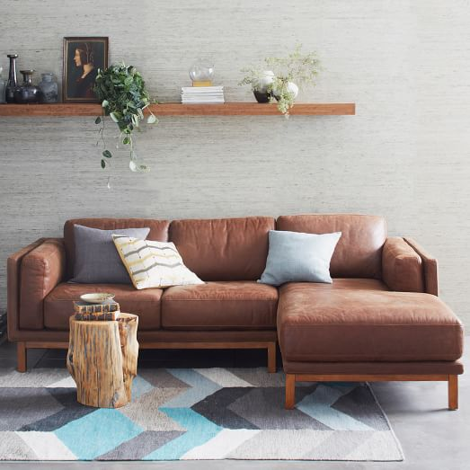 Dekalb Leather 2 Piece Chaise Sectional West Elm